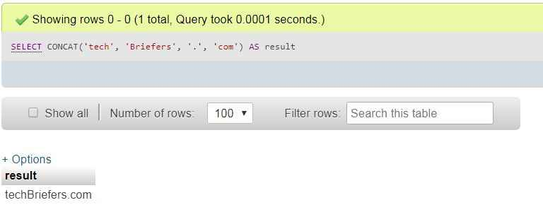 MySQL concat function techbriefers.com