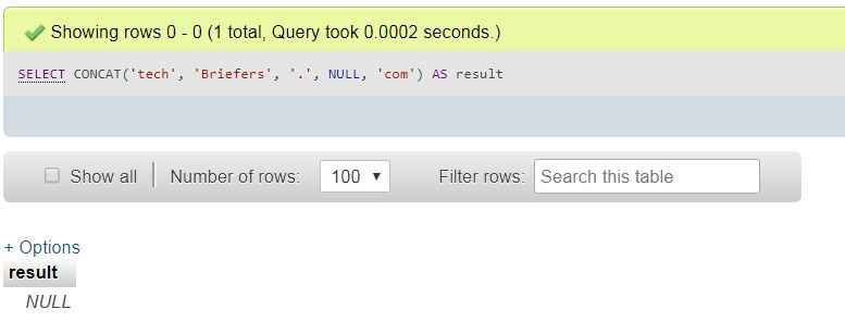 MySQL concat function with null argument techbriefers.com