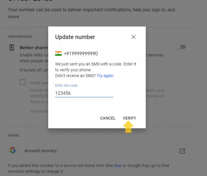 enter google verification code - step 12