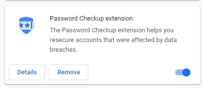 Disable Google password checkup tool