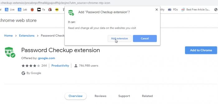 Install Google password checkup tool 2