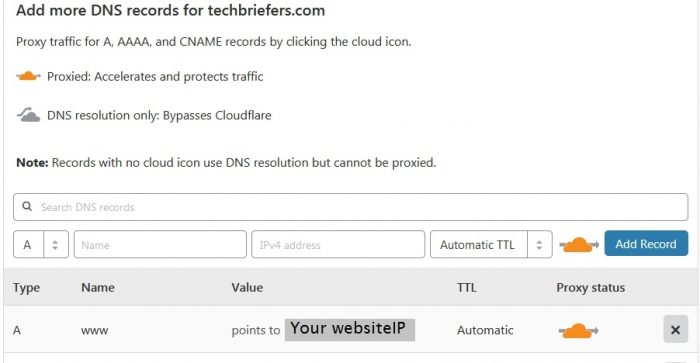 Add DNS record in Cloudflare