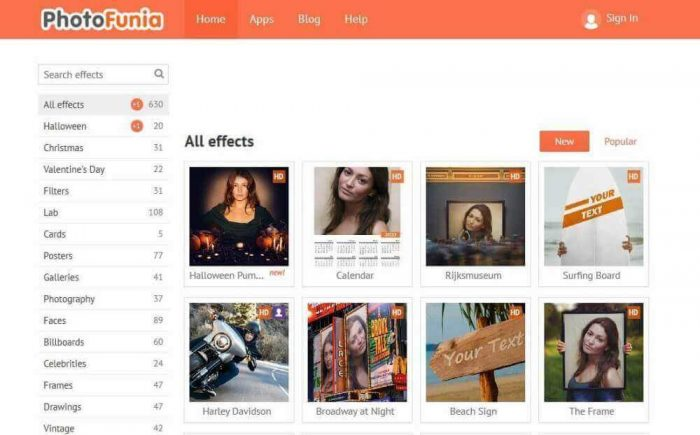 photofunia: Photo frame adding online
