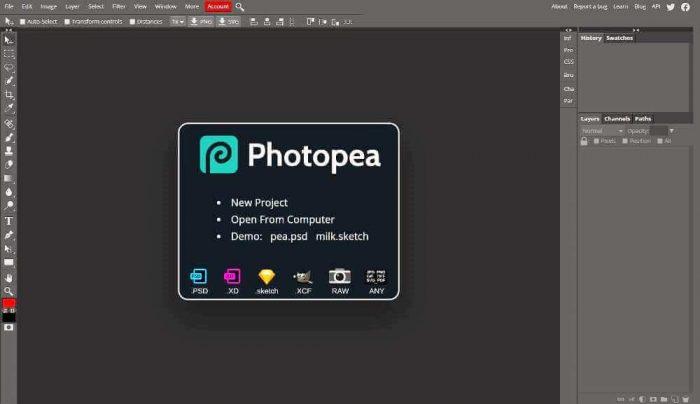 photopea: Photoshop-like photo editor