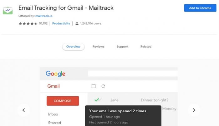 add mailtrack in chrome to track gmail mails sent and recieved or not