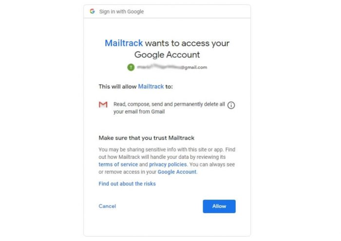 allow mailtrack to access google account to track gmail mails sent and recieved or not