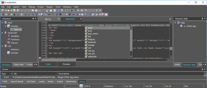 Codelobster Editor Free PHP, HTML, CSS, JS IDE