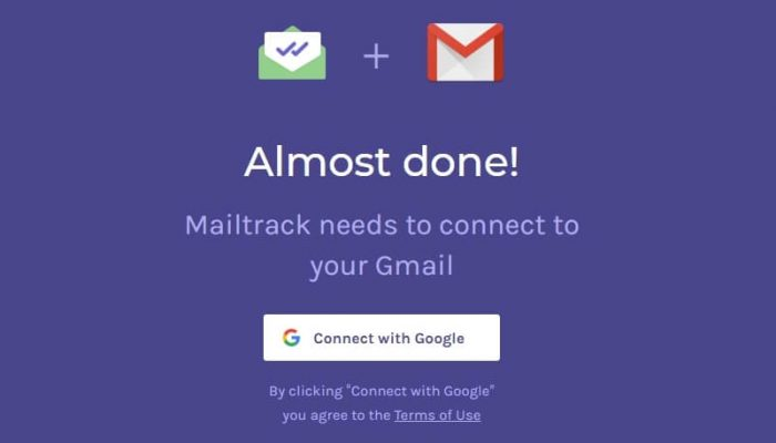 connect mailtrack with google account to track gmail mails sent and recieved or not