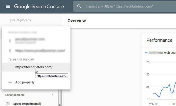Go to New Search Console and Select Property