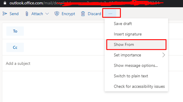 Sending Email as an alias in MS Outlook web app