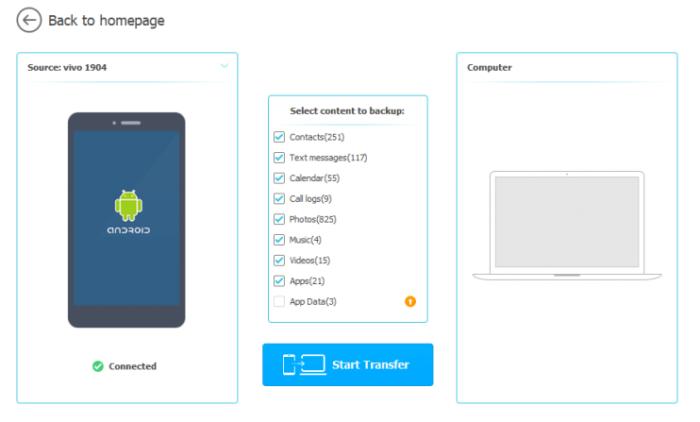 Display the backup menu of Wondershare Mobile Trans