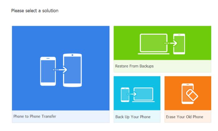 The main menu display of Wondershare Mobile Trans